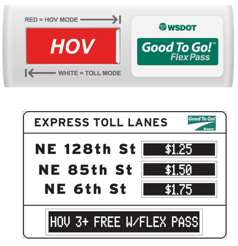 Signage examples for the I-405 Express HOV lanes system