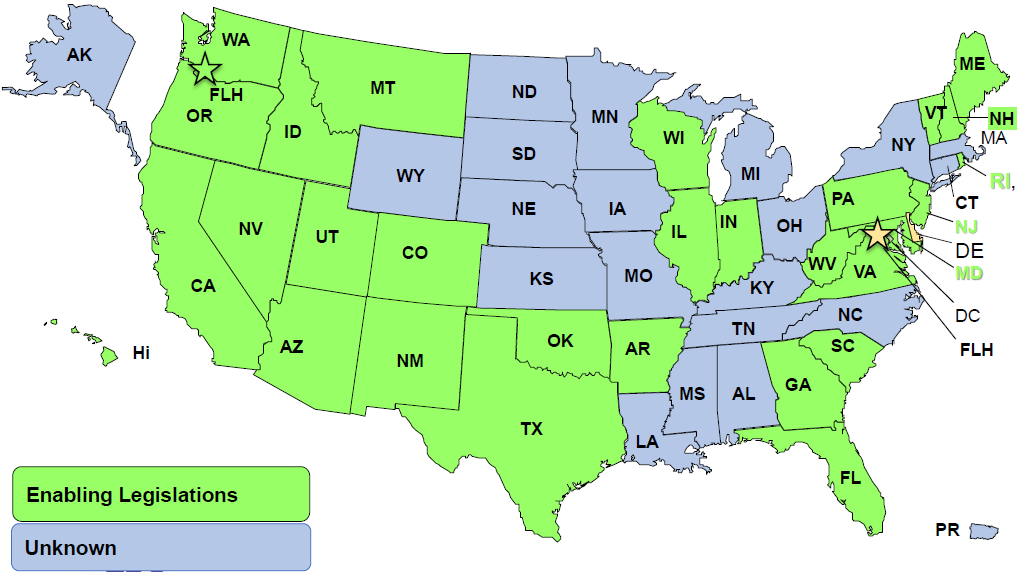 map showing states with enabling legislation