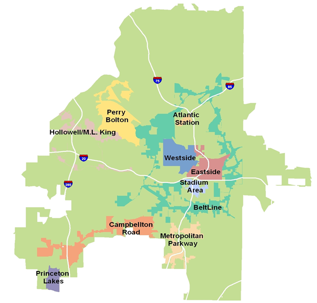 map of Atlanta's Tax Allocation Districts