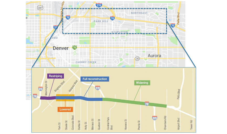 Map showing the Central 70 project location