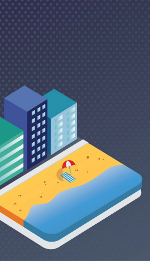 Computer Illustration of a beach and buildings
