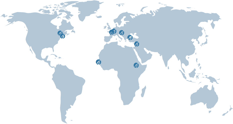 World map showing Meridiam office locations