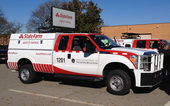 State Farm branded work truck