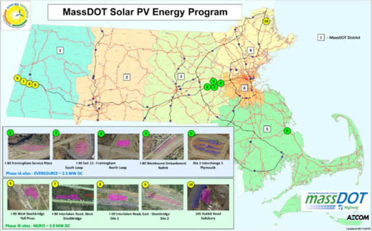 A map of where these solar panels are located along the Mass. Pike.