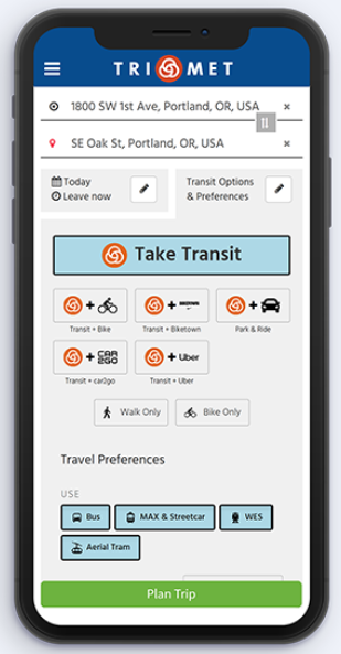 Example view of TriMet's new trip planner on a smartphone. Screen shows how a users can enter a destination, time, and their transit options and preferences. The planner provides multimodal options, such as transit and bike; transit and Biketown (bikeshare), transit and Uber; and single mode options.