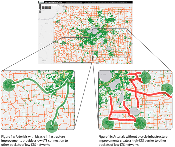 Graphic shows screenshots of the bicycle LTS web map. Map shows arterials with and without bicycle improvements. Map on the lower left shows a section with bicycle infrastructure improvements that provide a low-LTS connection to other pockets of low-LTS networks. The map on the lower right shows an arterial without bicycle infrastructure improvements that create a high-LTS barrier to other pockets of low-LTS networks.