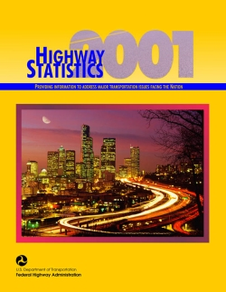 Cover of Highway Statistics 2001 with a photo of a highway at night and a skyline.