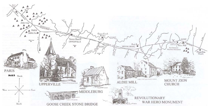 Map drawing of the Route 50 corridor. Beneath the map are drawings of various landmarks and towns. Reading from left to right (i.e. West to East) the landmarks shown are: Paris, Upperville, Goose Creek Stone Bridge, Middleburg, Revolutionary War Hero Monument, Aldie Mill, Mount Zion Church.