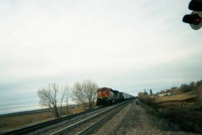 photo: railroad tracks and a train
