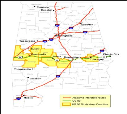 The map shows the US 80 corridor as covering six counties in an east west belt across central Alabama and one rural county in east Alabama. It also shows that the western part of the US 80 corridor has little Interstate access.