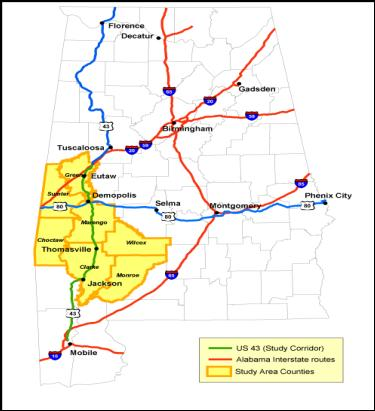 The map shows the 7 counties that comprise the US 43 study corridor are all in the southwest portion of Alabama. The map also shows that the southernmost 5 counties do not have interstate access.