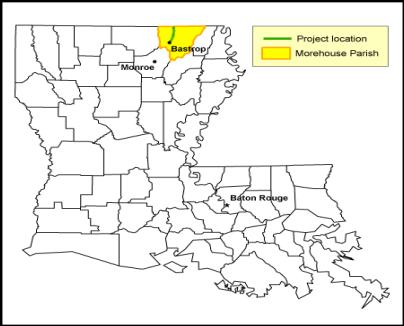 The map shows that Morehouse Parish is at the northern border of Louisiana in the northeast portion of the State and is near to Monroe. It also shows that Bastrop is in the southwest portion of Morehouse Parish.