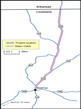 The map shows that US 165 is a north to south highway connecting Arkansas with Bastrop in Morehouse Parish.