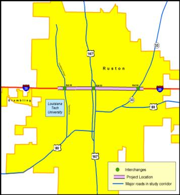 The map shows that Ruston is bisected by I-20. It also shows that the study portion of the corridor is in the center of the city and just north of Louisiana Tech University.