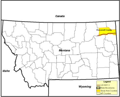 The map shows that Roosevelt County is in the northeast portion of Montana. It also shows that the study corridor is in the southern portion of Roosevelt County.