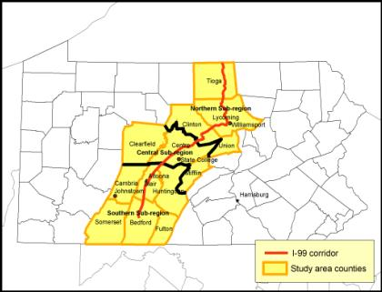 The map shows the I-99 corridor as mostly SW to NE in central Pennsylvania including 11 counties.