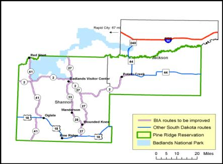The map shows that most of the arterial routes in Shannon and Jackson counties are BIA roads, including every road that provides access to Badlands National Park and that I-90 traverses portion of the north of Jackson county.