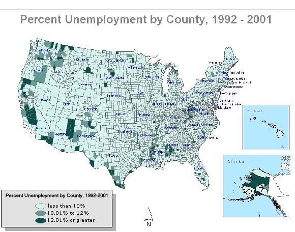 cluster map of the US showing unemployment areas 1992 to 2001