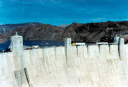 Image of U.S. Route 93 as it crosses over the top of the Hoover Dam.