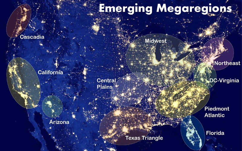 A United States map showing emergining megaregions. Cascadia (Oregon/Washington), California, Arizona, Midwest, Central Plains, Texas Triangle, Northeast, DC-Virginia, Piedmont Atlantic, and Florida.