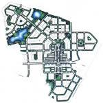 Image consists of a neighborhood site plan with interconnected streets and small blocks, primarily based on a grid street pattern, and including a mix of land uses, open space, and parks