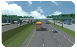 Snap shot of a real time simulation of the relocation of a toll barrier on the New York State Thruway. The image shows a three lane divided highway with an underpass and vehicles.