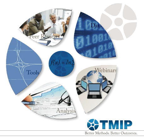 TMIP Logo: Group at a table; Peer Review. Data. Webinars. Analysis. Tools. Better Methods. Better Outcomes.