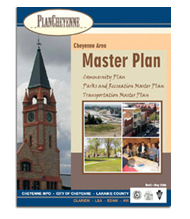 This photo shows the cover of the Cheyenne Metropolitan Planning Organization's Plan Cheyenne Executive Summary.  The cover features a shot of the Cheyenne Railroad Depot, a local landmark, and four photos of the nearby Interstate, the downtown area, a local park, and a community meeting.