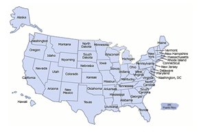 This photo shows a map of the United States and includes the names of all 50 states.