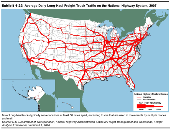 Exhibit 1 23 Average Daily Long Haul Freight Truck Traffic On The National Highway
