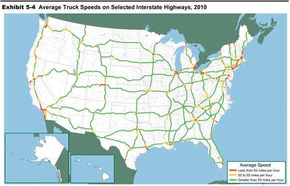average truck sds on selected interstate highways 2010 an