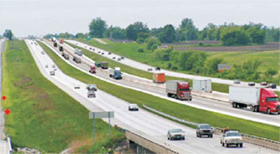 Rendering of proposed truck-only lanes along I-70