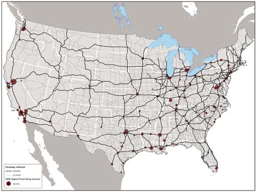map of the united states showing the us route and interstate roadway networks