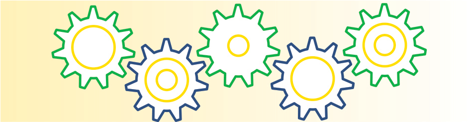 green, yellow, and white graphic showing cogs in a machine