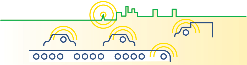 green, yellow, and white graphic showing vehicles communicating via radar