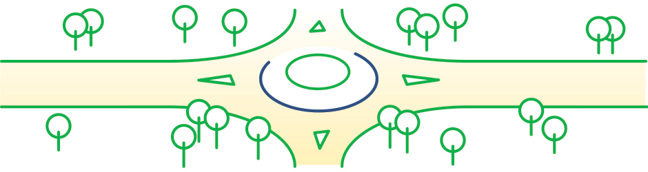 green and white graphic showing an intersection rotary