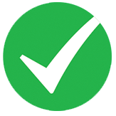 green and white icon depicting a checkmark