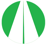 green and white icon depicting a highway