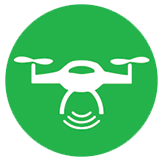 green and white icon depicting a drone