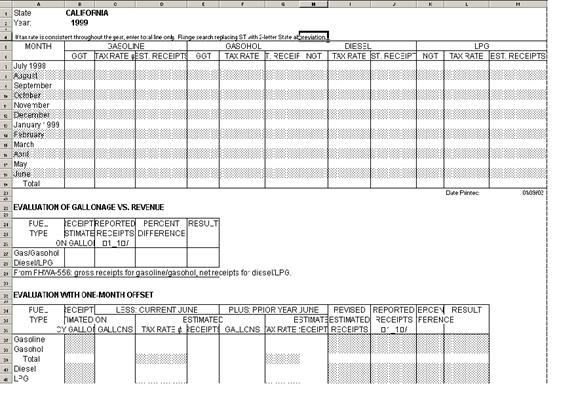 screen shot of the analysis form EVAL used by FHWA staff in the analysis process (