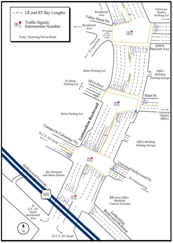 Figure 1.  The schematic drawing shows the lane configurations, lane directions, left- and right-turn bay lengths,  traffic signals, cross streets, street names, building locations, and intersection configurations within the study area of Lankershim Boulevard.