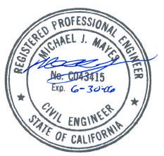 State Of California Registered Professional Engineer Seal Michael J Mayes PE