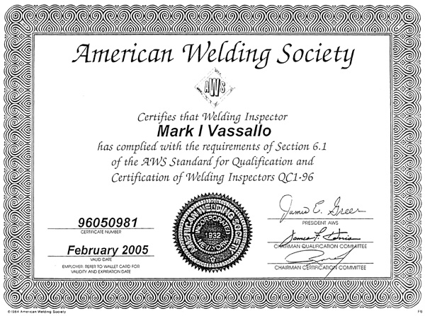 Oakland bay bridge pile connection plate welding for Welding certificate template