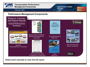 Screen shot from the Transportation Performance Management Awareness course