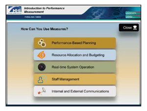 Screen shot from the Introduction to Performance Measures course