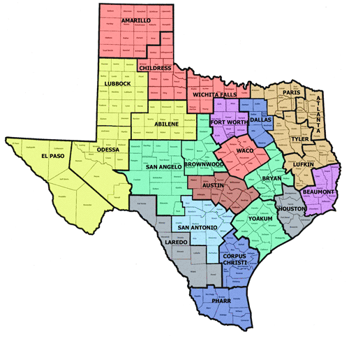 Map Of Texas Districts on