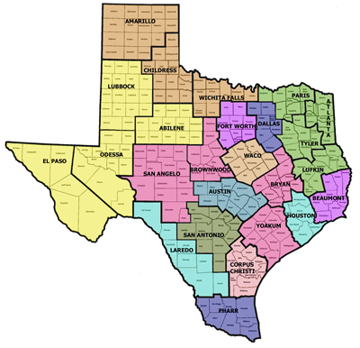 Map of Texas Districts